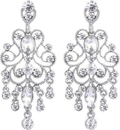 Amazon.com: BriLove Wedding Bridal Dangle Earrings for Women Vintage Style Crystal Drop Hollow Filigree Chandelier Dangle Earrings Clear Silver-Tone: Jewelry
