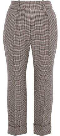 Cropped Pleated Houndstooth Wool Straight-leg Pants