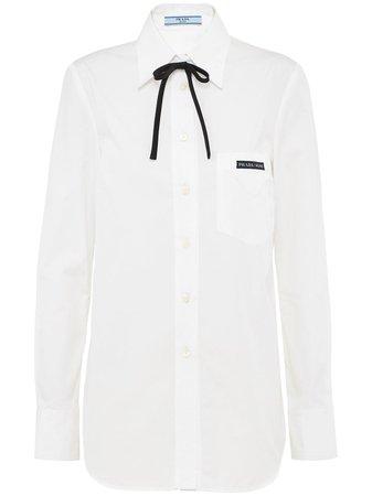 Prada logo patch poplin shirt white P409ES2011V6S - Farfetch
