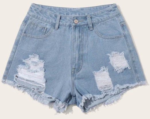 shein blue ripped shorts