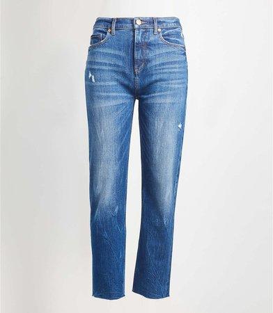 Petite High Rise Straight Crop Jeans in Dark Indigo | LOFT