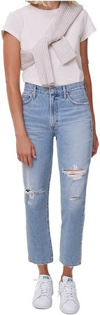 Marlee Nonstretch High Waist Distressed Relaxed Tapered Jeans