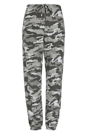 Chaser Camo Print Knit Lounge Jogger Pants grey
