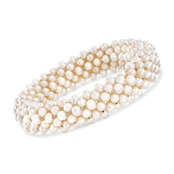 Ross-Simons - 4-4.5mm Cultured Pearl Stretch Cluster Bracelet - #798357