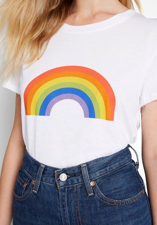 Sub_Urban Riot Over the Rainbow Graphic Tee in White | ModCloth