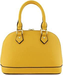 Amazon.com: Zip-Around Classic Dome Satchel (Mustard): Clothing