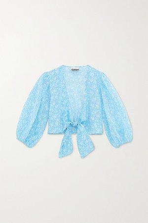 Tie-front Floral-print Cotton-voile Top - Light blue