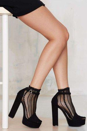 Black heels with socks