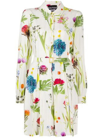 Boutique Moschino long-sleeve photographic-floral shirt dress