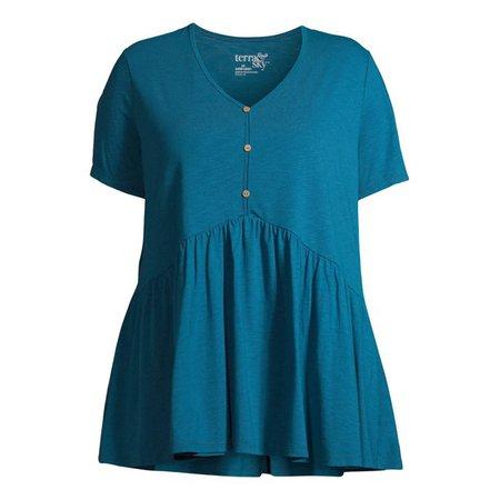 Terra & Sky - Terra & Sky Women's Plus Size Knit Babydoll Henley Top - Walmart.com - Walmart.com blue