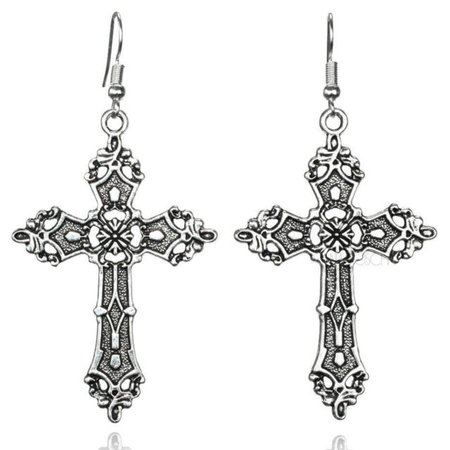 Large Silver Cross Earrings 80's Madonna Gothic Victorian Christian Crucifix GOT | eBay