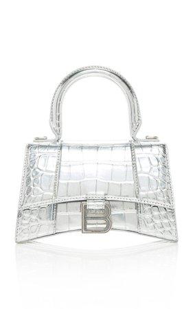 Hourglass XS Embellished Croc-Effect Leather Top Handle Bag by Balenciaga | Moda Operandi