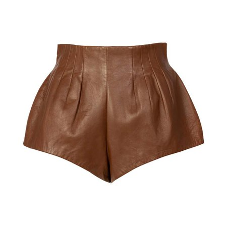 Prada Brown Leather Shorts, 2009 For Sale at 1stdibs