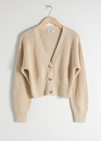 Cropped Textured Cotton Cardigan - Beige - Cardigans - & Other Stories