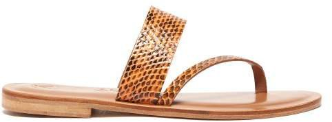Álvaro Alvaro - Alberta Snakeskin Slides - Womens - Orange