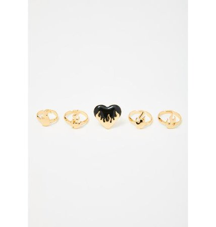 Flame Heart Rings Set - Gold | Dolls Kill