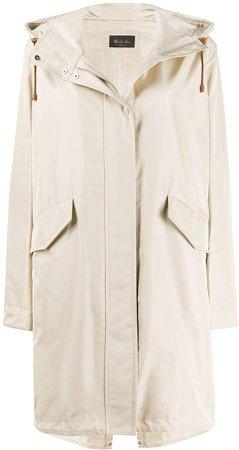 single breasted hooded raincoat