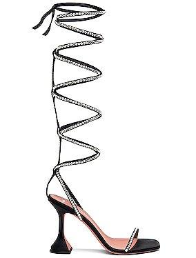AMINA MUADDI x AWGE LSD Gladi Thigh High Heel in Black & Black Crystal | FWRD