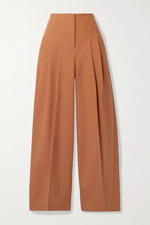 Pleated Wool-blend Wide-leg Pants - Orange