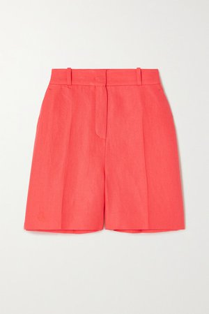 Emil Antigua Pleated Linen-twill Shorts - Coral