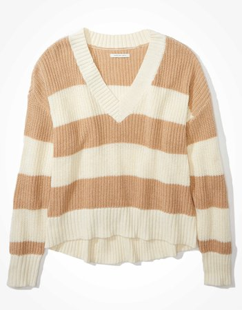 AE Striped Cropped V-Neck Sweater