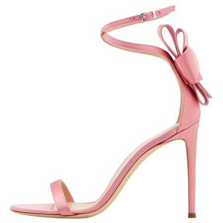 Giuseppe Zanotti Pink Satin Bow Flower Evening Sandals