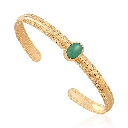 Jonc YUCATAN en Plaqué or et Aventurine Vert - Bracelet Femme avec CLEOR - 60057932