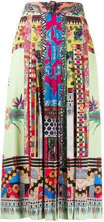 Print Mix Pleated Skirt