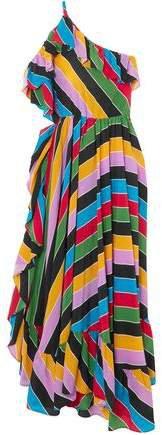 One-shoulder Striped Silk Crepe De Chine Maxi Dress