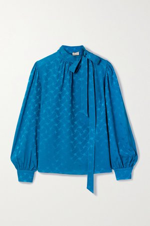 Blue Pussy-bow silk-jacquard blouse | SAINT LAURENT | NET-A-PORTER