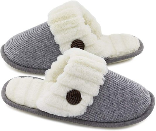 Amazon.com | HomeTop Women's Cute Fuzzy Knitted Memory Foam Indoor House Slippers for Families Couples (37-38 (US Women's 7-8), Light Gray) | Slippers