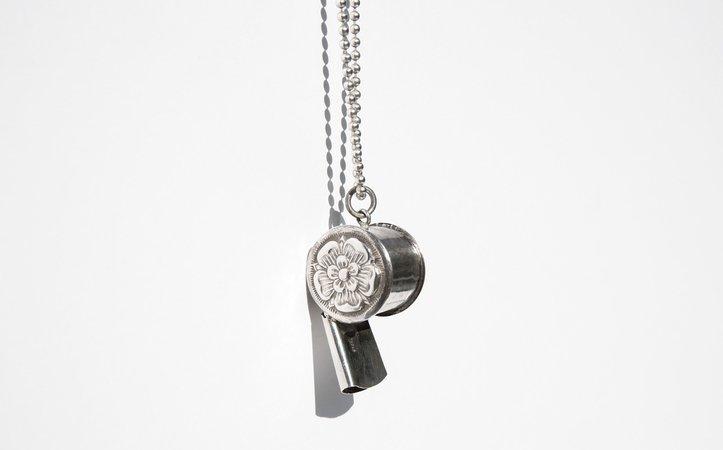 Antique Sterling Whistle Necklace   Kindred Black