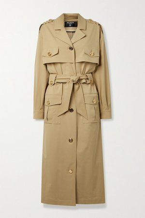 Belted Woven Trench Coat - Beige