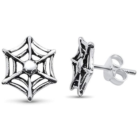 Amazon.com: Sterling Silver Plain Spider Web Design Stud Earrings: Gateway