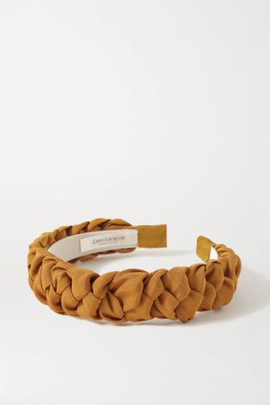 Tan Lori braided silk-faille headband | Jennifer Behr | NET-A-PORTER