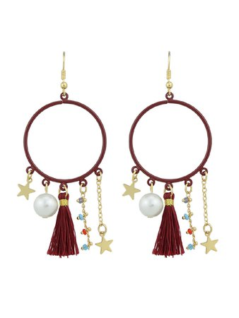 Red Tassel Simulated-Pearl Colorful Beads Star Charms Drop Earrings