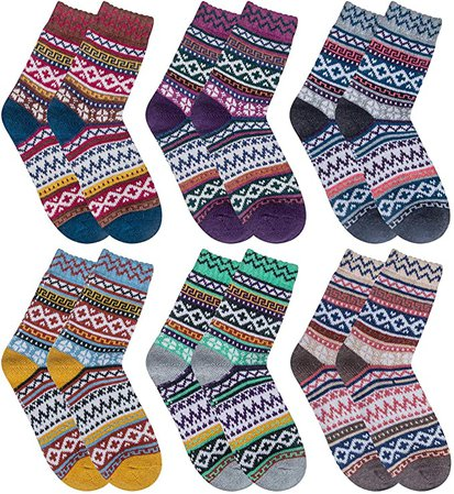 Justay 5 Pairs Winter Womens Wool Socks Vintage Warm Socks Thick Cozy Socks Knit Casual Crew Socks Gifts for Women at Amazon Women's Clothing store