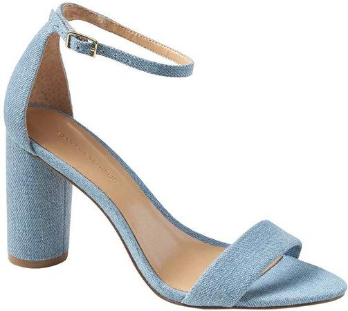 Bare High Block-Heel Denim Sandal