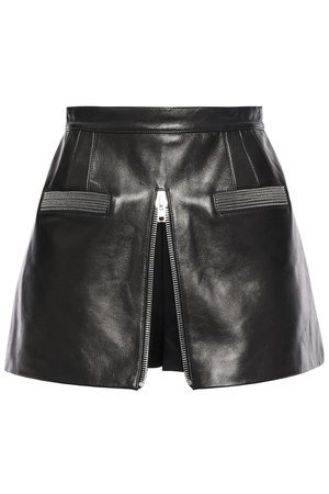 Black Layered zip-embellished leather shorts | ALEXANDER WANG | Sale up to 70% off | THE OUTNET | ALEXANDER WANG |