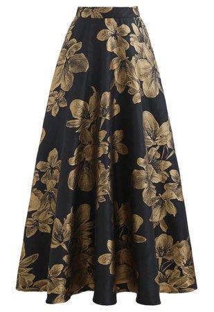 Golden Dahlia Blossom Jacquard Maxi Skirt - Retro, Indie and Unique Fashion