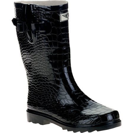 Forever Young - Forever Young Women's Short Shaft Rain Boots Croc Texture - Walmart.com black