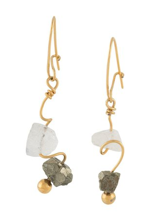 Shop gold & white Marni beaded drop earrings with Express Delivery - Farfetch