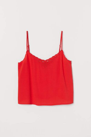 Scallop-trimmed Camisole Top - Red
