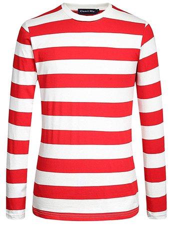 Camii Mia Men's Cotton Crew Neck Long Sleeves Stripe T-Shirt (3X-Large, Red White) | Amazon.com