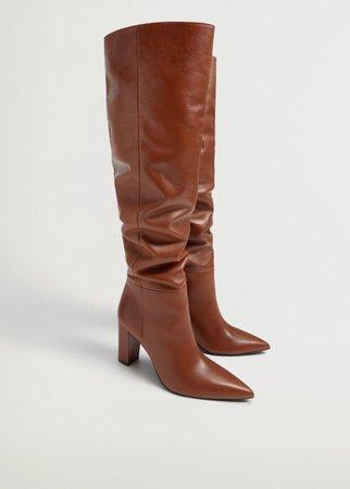 Heel leather boot - Women | Mango USA