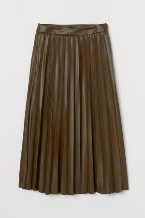 Faux Leather Skirt - Green