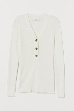 Ribbed Sweater - White - Ladies   H&M US