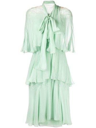 Alberta Ferretti flounce-tiered Silk Dress - Farfetch