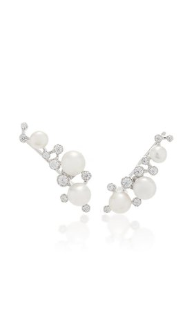 18k White Gold Vermeil Constellation Pearl Earrings By Anabela Chan | Moda Operandi
