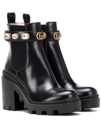 Black Gucci boots w/ rhinestone